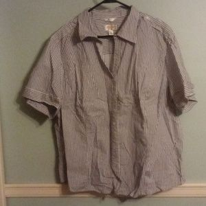 Short sleeve button up blouse.